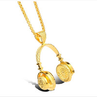 Wholesale Wholesale Headphone Charms - 2017 fashion Hip-hop headphones long chain charim necklace for men classic Gold plated Clavicle Pendant necklace statement jewelry wholesale