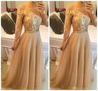 Wholesale Clubbing Dresses Plus Size Cheap - Modest Long Sleeves Arabic Formal Evening Dresses With Gold Lace Chiffon Plus Size Vestidos De Novia Prom Special Occasion Gowns Cheap 2017