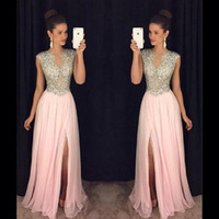 ingrosso abito da promenade sirena a mano-Blush Pink Beaded Evening Dresses 2017 Splendida manica a maniche lunghe con spacco Prom Gown Sheer Chiffon A-Line Occasioni speciali Party Dress