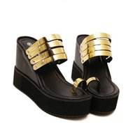 Wholesale Thong Platform High Heels - 2017 gold silver metal strap thong platform wedge high heels sandals beach slipper shoes