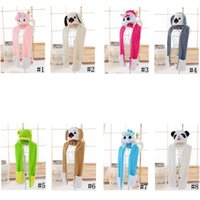Wholesale Wholesale Kids Hats Gloves - Animal Hat Gloves Scarf 3in 1 Kids Unicorn Dog Plush Cosplay Cartoon Earflaps Paws Fluffy Hood Cap Scarf 50pcs LJJO3177