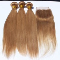 Wholesale 2017 fastion style Honey Blonde Lace Closure Straight With Bundles Brazilian Blonde Straight Weaves Human Hair Extension