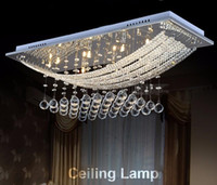 Wholesale Living Room Ceiling Lights Rectangle - Chandeliers And Ceiling 8 Lights Crystal Chandelier Light Fixture Rectangle Clear Lustre Lamp G4 for Dining Room, Meeting Room LLFA