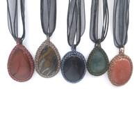 Wholesale Lapis Silk - JLN Thread Wrapped Stone Pendant Tiger Eye Gold Sand Lapis Moss agate Handmade Necklace With Silk Ribbon