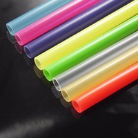 Wholesale Reusable Plastic Drinking Straws - 100 pcs lot 23 cm Fancy Fashion Reusable Hard Bar and Wedding Party Plastic Drinking Straws  Pure Color Straws for Marson Jar