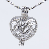Wholesale Locket Rings Wholesale - 5pcs silver plated olympic rings heart shape cage pendant 15*11*22mm