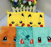 Wholesale Soft Pokemon - Hot 5 styles Anime Poke Pikachu Squirtle Bulbasaur Plush Soft Drawstring Bags Toy for kids gift free shipping