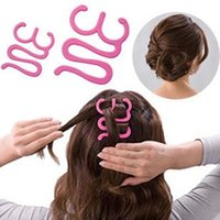 outil de tressage achat en gros de-2pcs Français Outils De Tressage De Cheveux Rouleau Avec Crochet Magique Twist Styling Bun Maker # E791.