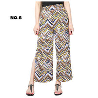 Wholesale Large Chiffon Pants - New summer Large size long wide leg chiffon pants high waist seaside split printed pants for lady