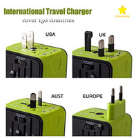 Wholesale Dual Usb Charger Wall Au - Universal Travel Adapter 2.4A Dual USB Worldwide Travel Power Adapter Plug Wall Charger for US UK EU AU with Package