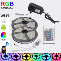 All'ingrosso-10M striscia di RGB diodo LED con LED RGB DC12V SMD 5050 300Leds wateproof intelligente WiFi Power Controller adattatore Kit completi