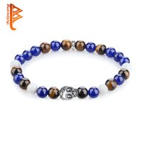 Wholesale Skull Colorful Bracelet - BELAWANG Natural Stone Wrist Bracelet Silver Plated Skull Head Colorful Beaded Strands Bracelet Fashion Jewelry Gift Wholesale Free Shipping