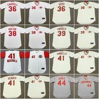 Wholesale Clay Mario - Mens Cincinnati Reds 36 CLAY CARROLL 1975 36 MARIO SOTO 38 GARY NOLAN 39 DAVE PARKER 41 JOE NUXHALL Cooperstown Throwback Baseball Jerseys