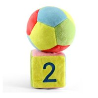 Atacado - 2pcs Baby Kids Cute Soft Plush Football Sieve Rattles Bell Ring Number Color Shape Cognitive Educational Learning Toys Presentes