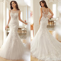 Wholesale Dropped Waist Sweetheart Neckline - Vintage Mermaid Wedding Dresses 2017 Lace Applique Bridal Gowns Illusion Bateau Neckline Dropped Waist Court Train Vestido De Novia