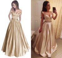 Wholesale Gold Crystal Sash - 2018 Elegant Champagne Gold Ball Gown Prom Dresses Off Shoulder Crystal Beaded Sash Satin Floor Length Dark Red Backless Evening Dresses