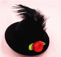 filzhut basis großhandel-Umweltfreundliche 5 cm Mischungsfarbe Solide Filz Mini Top Hut Haar Hut Clip Fascinator basis Frauen Mädchen Modewaren Party Hut 30 teile / los