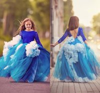 Wholesale kids pageant puffy gowns - Ball Gown Long Sleeves Girls Pageant Dresses Jewel Lace Ruched Puffy Flower Girl Dresses For Weddings Tutu Skirt Backless Kids Party Dress