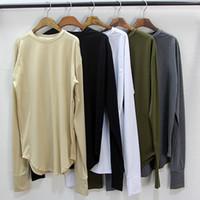 longo oversized t camisa mens venda por atacado-5 Cores Camadas de Base Dos Homens de Manga Longa Estendida T-Shirt Curva Longa Extra Longa Extra Grandes Tees 2018