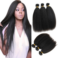 Wholesale Coarse Yaki Straight Weave - Brazilian Kinky Straight Human Hair Weave Bundles 7A Unprocessed Peruvian Malaysian Indian Italian Coarse Afro Yaki Straight Hair Extensions