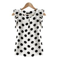 Wholesale Girl S Polka Dot Shirt - Wholesale- Fashion Girl Women Casual Chiffon Tshirt Short Sleeve Shirt T-shirt Summer Tops