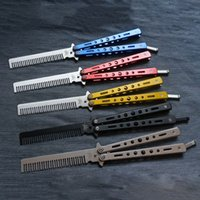 Wholesale Training Comb - Stainless Steel Folding Training Butterfly Practice Style Knife Comb Tool Salon Stainless Steel Folding Training Butterfly Practice Style
