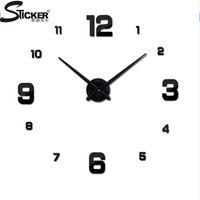 relógio de metal moderno venda por atacado-Atacado- 2016 real novo relógio 3d diy espelho adesivos relógio de parede moderna sala de quartzo relógios de metal frete grátis decoração de casa relógio