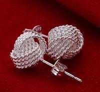 ingrosso gli stati della sfera-Orecchini creativi intrecciati in argento 925 con vendita calda all'ingrosso e negli Stati Uniti