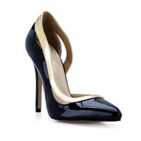 Wholesale Lady Shoes Images - Black Patent Leather WOmen Dress Shoes High Thin Heels Real Image Ladies Party Shoes Women Pump Shoes Hot Sale Cheap Modest
