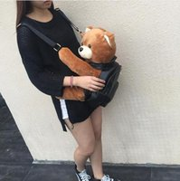 Wholesale Leather Women Teddy - 2016 Winter Women Girls Fashion Leather Backpack Plush Teddy Bear Backpack School bag fmous brand leisure small backpack bag