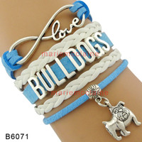 Wholesale Sport Bracelet Team - (10 Pieces Lot) Infinity Love Bulldog Dog Charm Sports Team Bracelets For Women Men Leather Wrap Gifts Jewelry Drop Shipping
