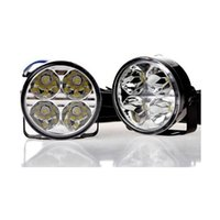 Wholesale Drl Fog Round - 2PCS Universal 4 Led Round DRL Daytime Running Lights Car Fog Light Driving Lamp White Waterproof High Quality