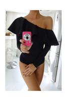 Wholesale Women S Swimsuit Sleeves - ruffle one shoulder Women's Swimwear Summer swimsuit elegant long sleeve women jumpsuit romper Bodycon party club overalls playsuit 2017