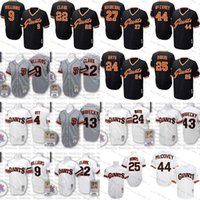Wholesale Giant Xxl - men's mitchell and ness san francisco giants 24 willie mays 25 barry bonds 44 willie mccovey 9 matt williams 22 will clark throwback jersey