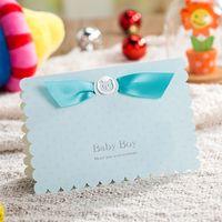 neue blaue einladungen großhandel-Großhandels-2016 neue Babypartyeinladungskarte 50pcs / lot des blauen Rosas 3D der Babygeburts-Party geben Verschiffen frei