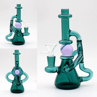 Wholesale Cheap Foams - Green Glass Bongs With Foam Box 19cm Joint Size 14.4mm dab rigs two fuction Recycle Oil Rigs Bongs cheap Smoking Water Pipes