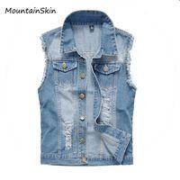 Wholesale New Male Vest Men S - Wholesale- 2016 New Vintage Design Men's Denim Vest Male Slim Fit Sleeveless Jackets Men Brand Hole Jeans Waistcoat Plus Size S-6XL,LA035
