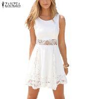 pantalones cortos de encaje zanzea al por mayor-Al por mayor- Zanzea 2016 Summer Style White Dress Mujeres Casual Encaje sólido sin tirantes Sexy A-line Mini Vestidos cortos Tallas grandes Vestidos
