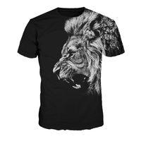 camisa de león fresco al por mayor-Al por mayor-Libre del envío Cool Lion T-Shirt Negro Camisetas Hombres Hip Hop T-shirt O-cuello Tops de la Mujer Camisa