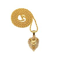 Hip Hop Big Lion Head Pendant Necklace Animal King Vintage Gold Color Hiphop Chain Para Homens / Mulheres Jóias Gift