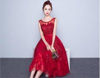 Wholesale Cheapest Night Dresses - Cheapest new wedding Slim red long evening party banquet summer dress red
