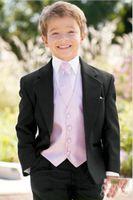 ingrosso i ragazzi legano il nero-Vendita calda Custom Made One Button Boy Tuxedos Notch Risvolto Suit bambini Nero Kid / Ring Wedding / Prom Abiti (Jacket + Pants + Tie + Vest)