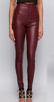 Wholesale High Waisted Tight Pants - Wholesale- High waisted wine red faux leather locomotive jeans plus size tight skinny leather pants full length fashion slim leather jeans