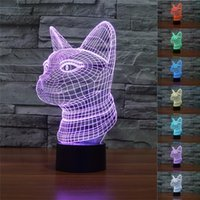 Wholesale Table Buttons - Wholesale- 3D Siamese cat Illusion Lamp 7 Color Changing Cat Lights Touch Button Table Night Light for Home Decor Cool Punk Gift