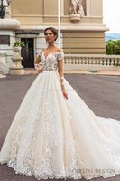 Wholesale Elastic Princess Dress - long sleeved princess royal train wedding dresses 2017 crystal design bridal off the shoulder deep sweetheart embellished bodice