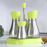 Wholesale Salt Pepper Green - Klau Modern Stylish Glass Cruet Olive Oil and Vinegar Dispenser Bottle Salt and Pepper Shaker with Travel Stand set of 5 Green