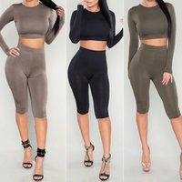 Wholesale Solid Tank Tops - Fashion Women Girls Sports Outdoor Two-Piece Outfits Bodycon Tight Yoga Set Tank Tops Pants Tracksuits ED04013 Free Shipping
