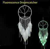 Wholesale Kinder Feathers - Fashion Gift India White Tree of Life Fluorescence Dreamcatcher Noctilucous Wind Chimes & Hanging Pendant Dream Catcher