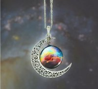 Wholesale Gemstone Buy - New Vintage starry Moon Outer space Universe Gemstone Pendant Necklaces Mix Models Burst recommendation Welcome to buy
