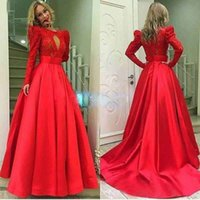 Wholesale Oriental Women Dress - Princess Long Red Prom Dresses Sale Long Sleeve Satin Oriental Evening Party Gowns Dress Party Gown For Women